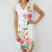 101 Ideas Off White Mesh Floral Print Dress