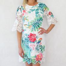 101 Ideas The light Green Floral Print Mesh Dress