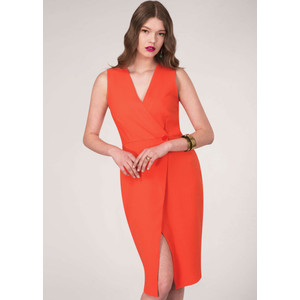 Closet Orange Wrap Pencil Dress
