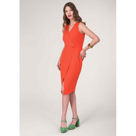 Closet Orange Wrap Pencil Dress