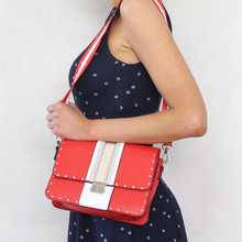 Mimosa Rouge & White Stripe Stud Detail Handbag
