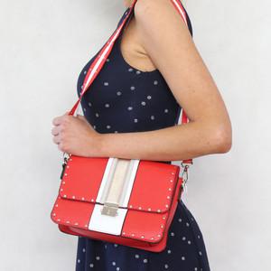 Mimosa Rouge & White Stripe Stud Detail Handbag