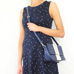 Mimosa Marine White Stripe Stud Detail Handbag