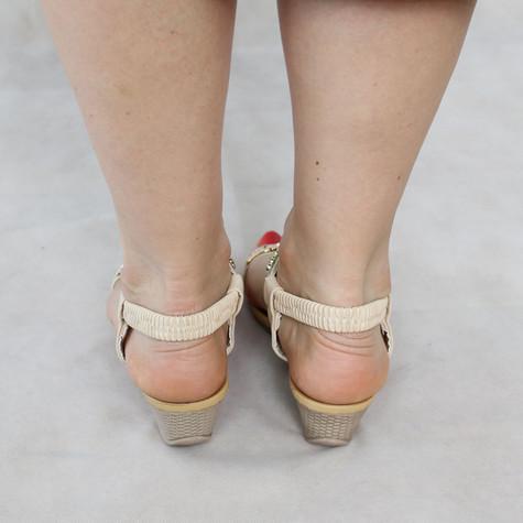Libra Pop Beige Gold Detail Wedge Sandals