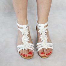 Libra Pop White Floral Detail Wedge Sandal