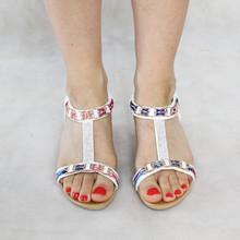 Libra Pop White Pink Fabric Detail Wedge Sandal