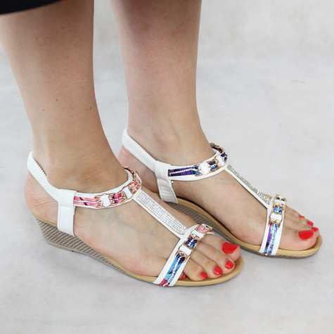Libra Pop White Pink Fabric Detail Wedge Sandal