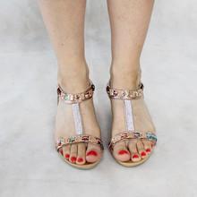 Libra Pop Champagne Fabric Detail Wedge Sandal