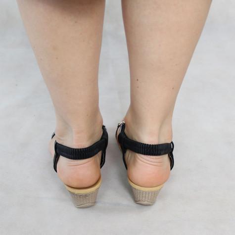 Libra Pop Black Diamante Detail Wedge Sandals