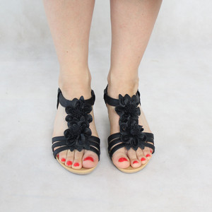 Libra Pop Black Floral Detail Wedge Sandals
