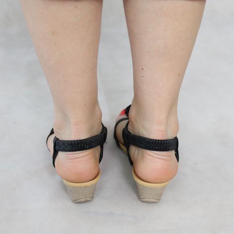 Libra Pop Black Floral Detail Wedge Sandals