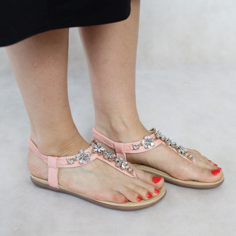 Libra Pop Pale Pink Crystal Floral Detail Wedge Sandal