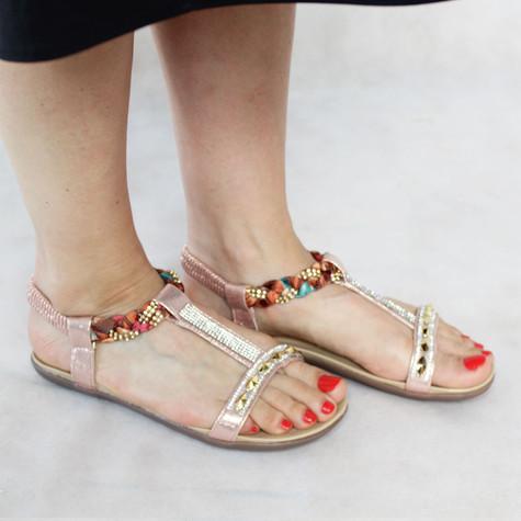 Libra Pop Champagne Diamante Detail Sandals