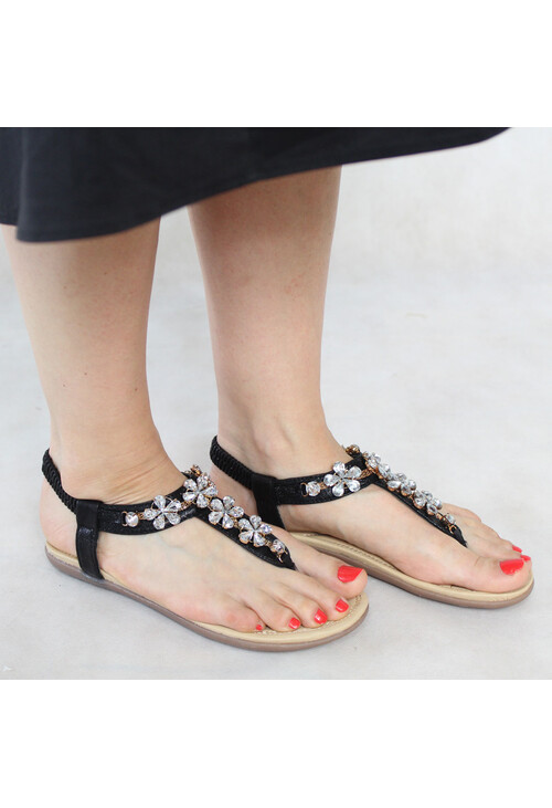Libra Pop Black Crystal Floral Detail Sandals