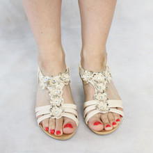 Libra Pop Beige Floral Wedge Sandals