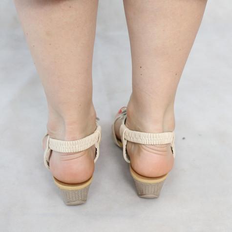 Libra Pop Beige Floral Wedge Sandals