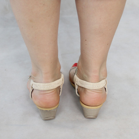 Libra Pop Beige Diamond Detail Wedge Sandals