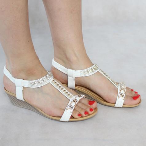 Libra Pop White Diamante Wedge Sandal