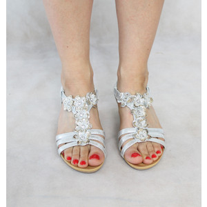 Libra Pop Silver Floral Detail Wedge Sandals