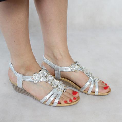 Libra Pop Silver Floral Detail Wedge Sandals