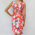 Zapara Red Off Should Floral Print Dress