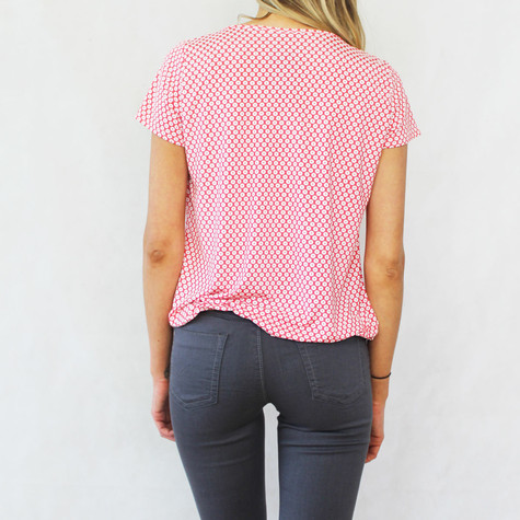 SophieB Red & Off White Circular Pattern Print Top