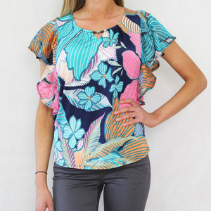 SophieB Blue & Green Leaf Pattern Angle Sleeve Top