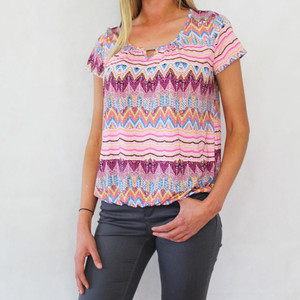 SophieB Missoni Pink Pattern Print Top
