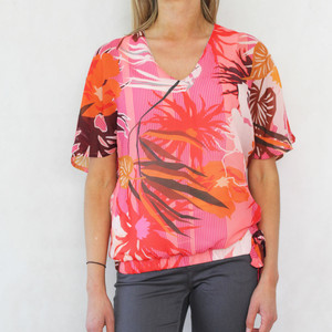 SophieB Coral Frill Shoulder Top
