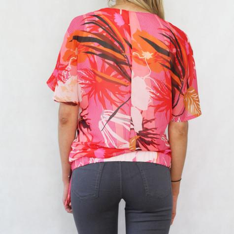 SophieB Coral Frill Shoulder Top
