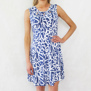 Zapara Denim Blue Graffiti Deign Dress