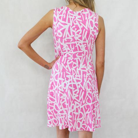 Fushia & White Graffiti Print Dress