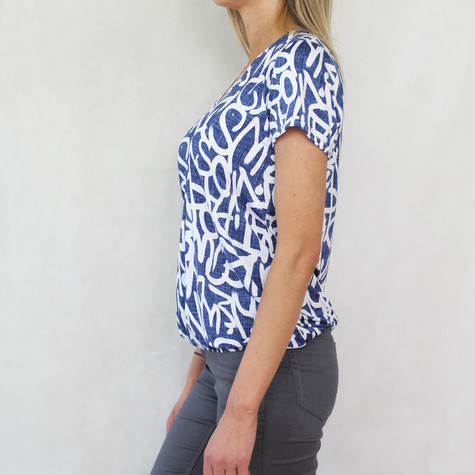 Zapara Denim Graffiti White Print Top
