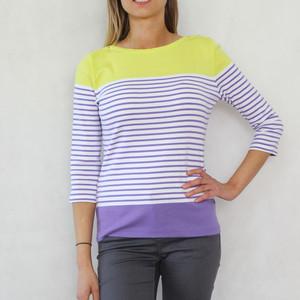 Twist Yellow & Violet Stripe Top