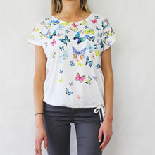 Twist White Butterfly Pattern Print Top
