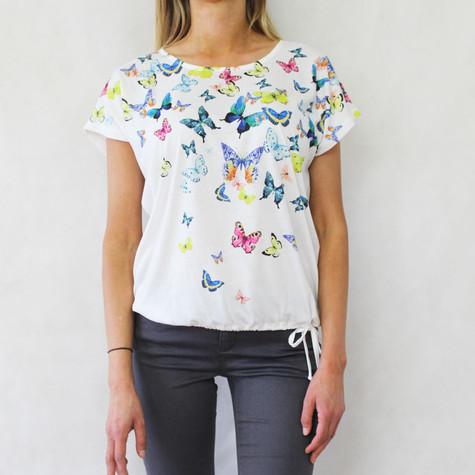 Twist White Butterfly Pattern Print Top