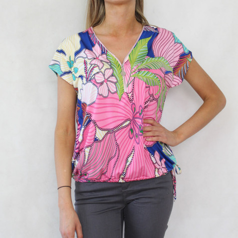 SophieB Multi-Coloured Leaf Pattern Print Top