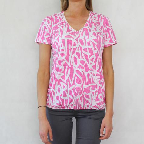 Zapara Pink White Graffiti Top