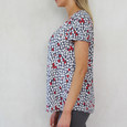 Twist Navy & Red Floral Print Top