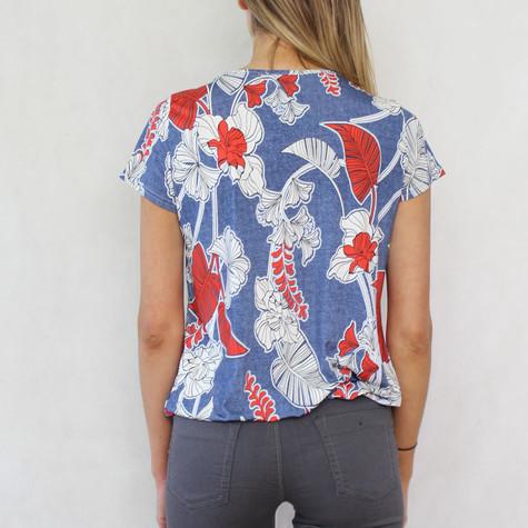 SophieB Red & Navy Leaf Pattern Print Top