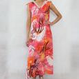 SophieB Coral Floral Print V-Neck Long Dress