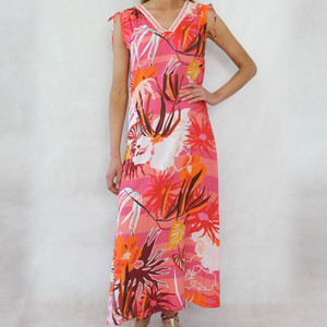 SophieB Coral Floral Print V-Neck Long Dress