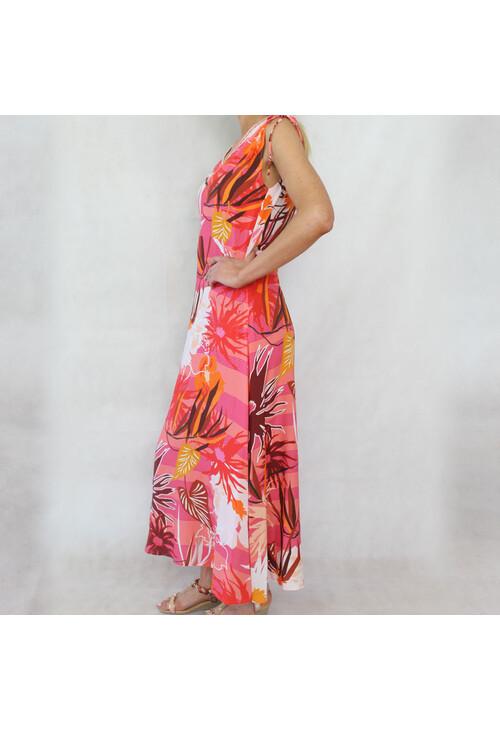 Sophie B Coral Floral Print V-Neck Long Dress