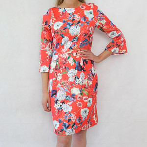 Zapara Red Trumpet Sleeve Floral Pattern Dress