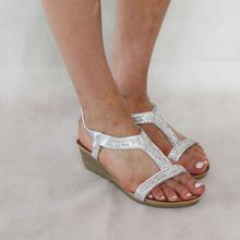 H2B Diffusion Silver Diamante Detail Sandals