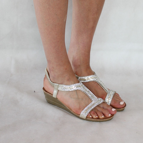H2B Diffusion Gold Diamante Sandals