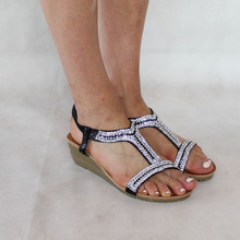 H2B Diffusion Black Diamante Sandal
