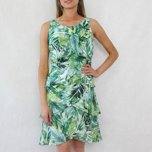 SL Fashions Tiered Green Floral Pattern Dress