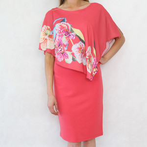 Bianca Coral Cape Vibrant Floral Print Dress