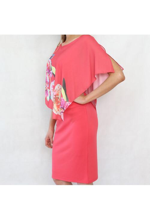Bianca Coral Cape Vibrant Floral Print Dress